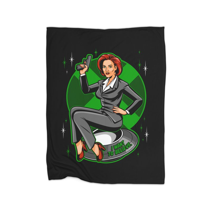 Scully Pin-Up Home Fleece Blanket Blanket by harebrained's Artist Shop
