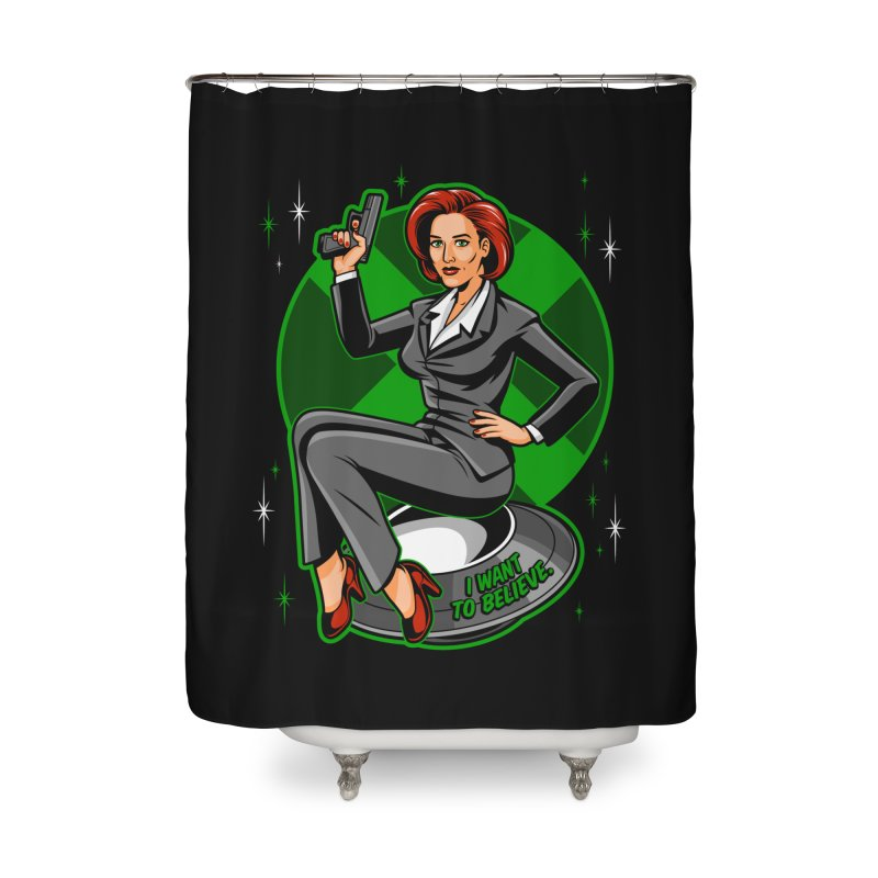 Scully Pin-Up Home Shower Curtain by harebrained's Artist Shop