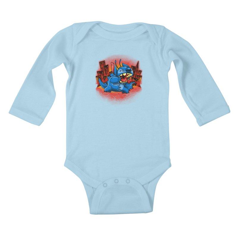 Stitchzilla Kids Baby Longsleeve Bodysuit by harebrained's Artist Shop