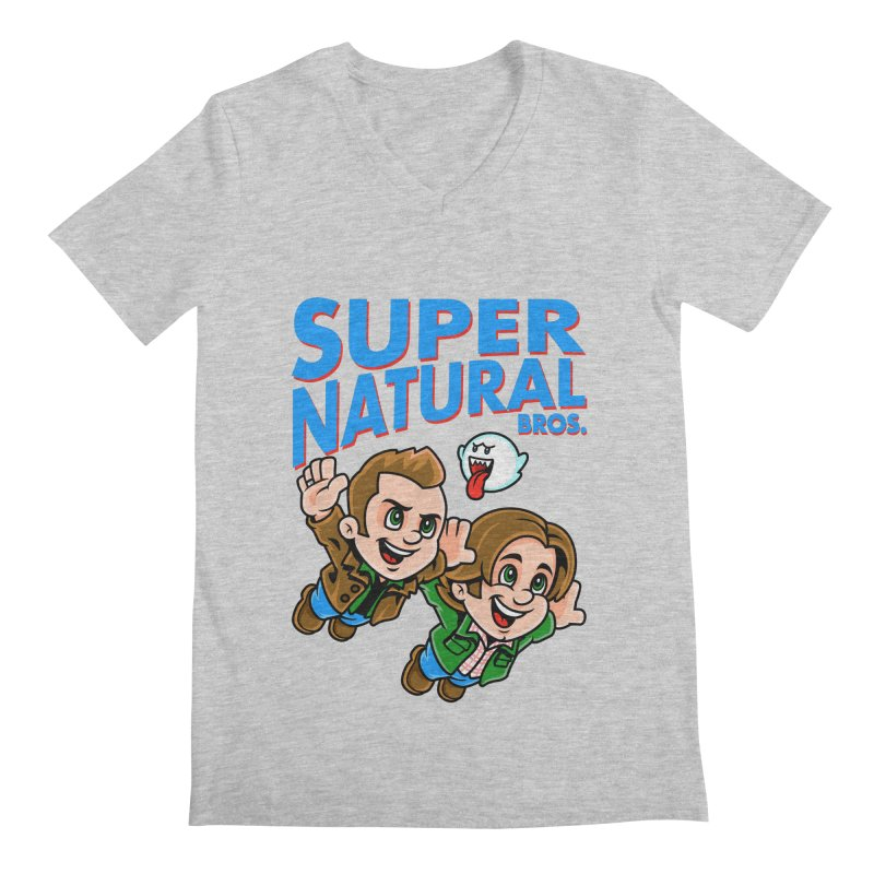 Super Natural Bros Men's Regular V-Neck by harebrained's Artist Shop
