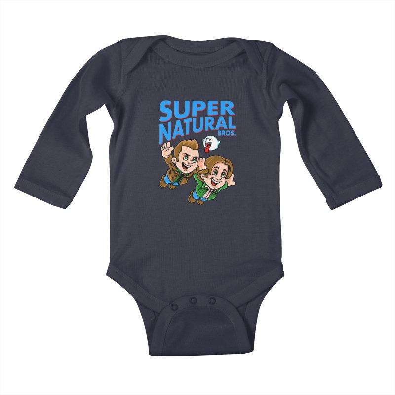 Super Natural Bros Kids Baby Longsleeve Bodysuit by harebrained's Artist Shop