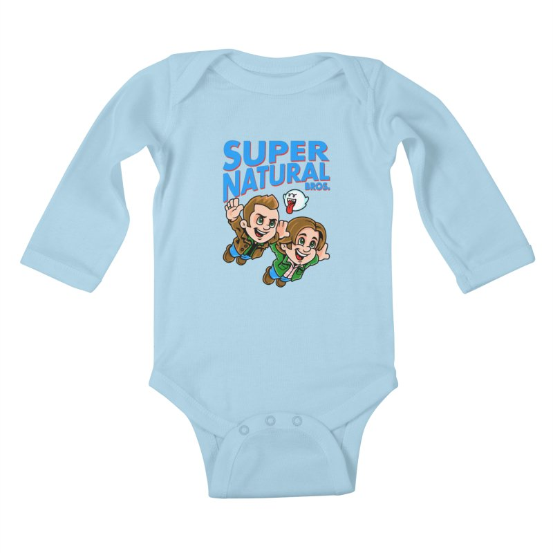 Super Natural Bros Kids Baby Longsleeve Bodysuit by harebrained's Artist Shop