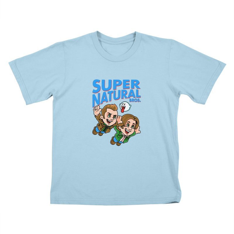 Super Natural Bros Kids T-Shirt by harebrained's Artist Shop