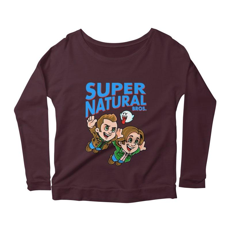 Super Natural Bros Women's Scoop Neck Longsleeve T-Shirt by harebrained's Artist Shop