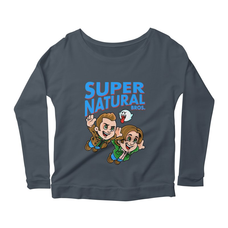 Super Natural Bros Women's Longsleeve Scoopneck  by harebrained's Artist Shop