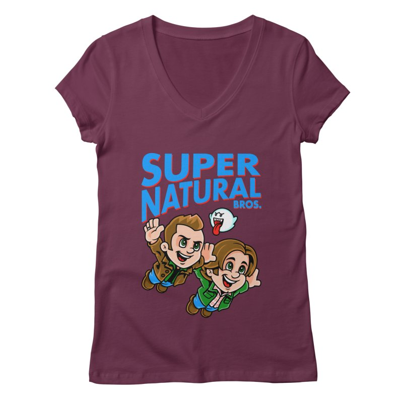 Super Natural Bros Women's Regular V-Neck by harebrained's Artist Shop