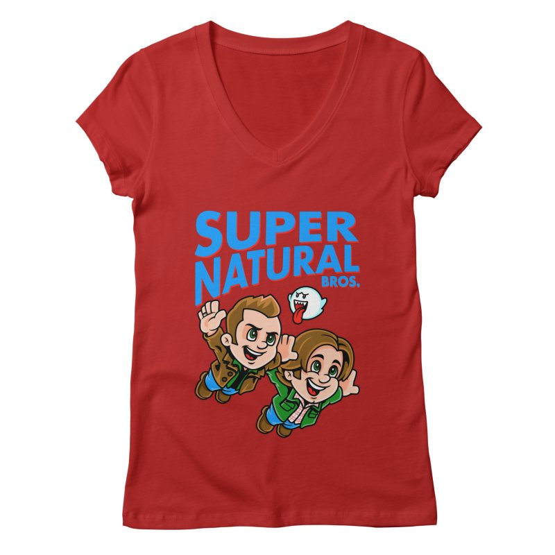 Super Natural Bros Women's V-Neck by harebrained's Artist Shop