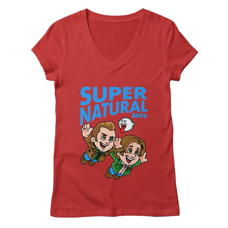 Super Natural Bros Women's V-Neck by harebrained's Artist Shop