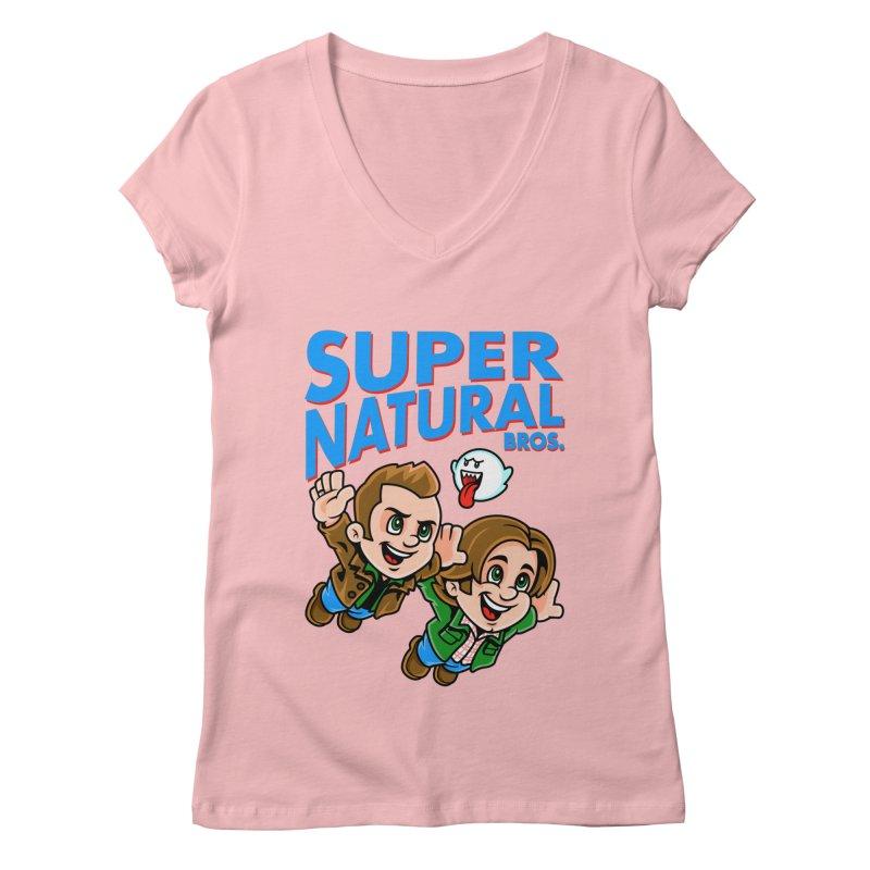 Super Natural Bros Women's Regular V-Neck by harebrained's Artist Shop