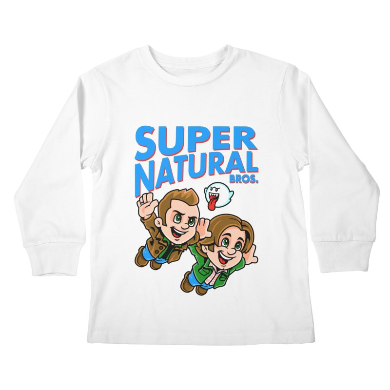 Super Natural Bros Kids Longsleeve T-Shirt by harebrained's Artist Shop