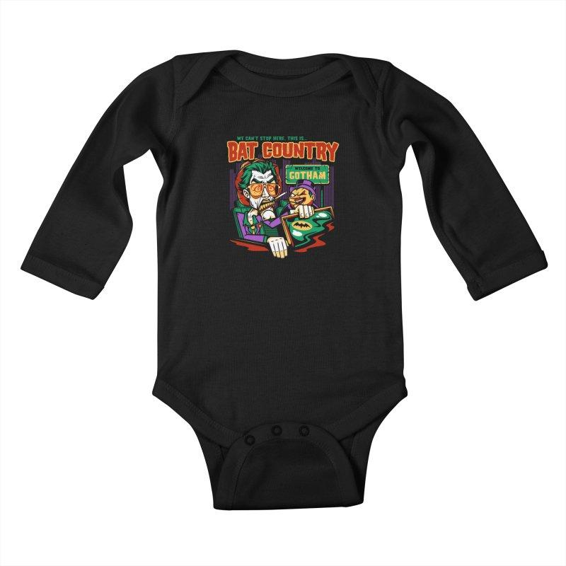 Bat Country (Penguin) Kids Baby Longsleeve Bodysuit by harebrained's Artist Shop