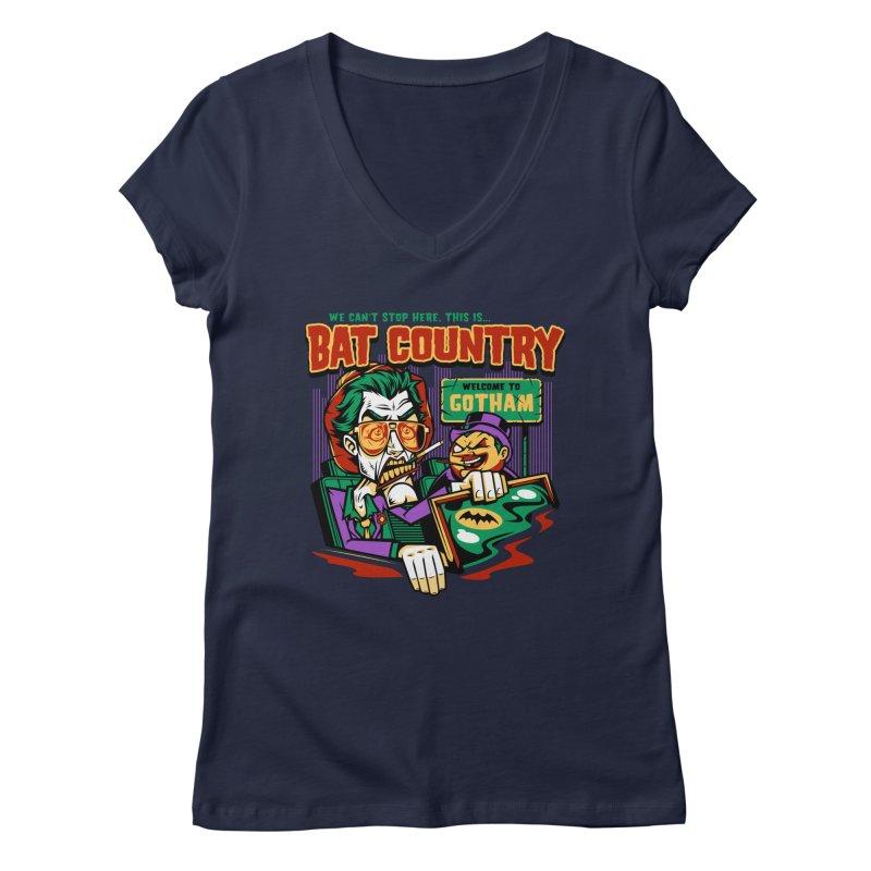Bat Country (Penguin) Women's Regular V-Neck by harebrained's Artist Shop
