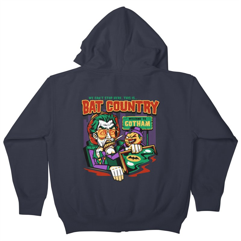 Bat Country (Penguin) Kids Zip-Up Hoody by harebrained's Artist Shop