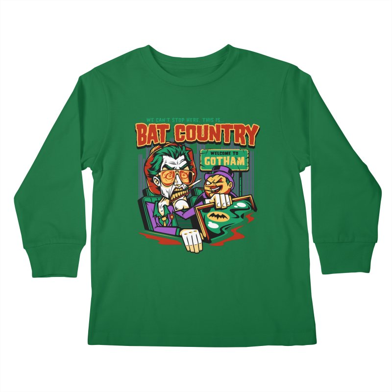 Bat Country (Penguin) Kids Longsleeve T-Shirt by harebrained's Artist Shop