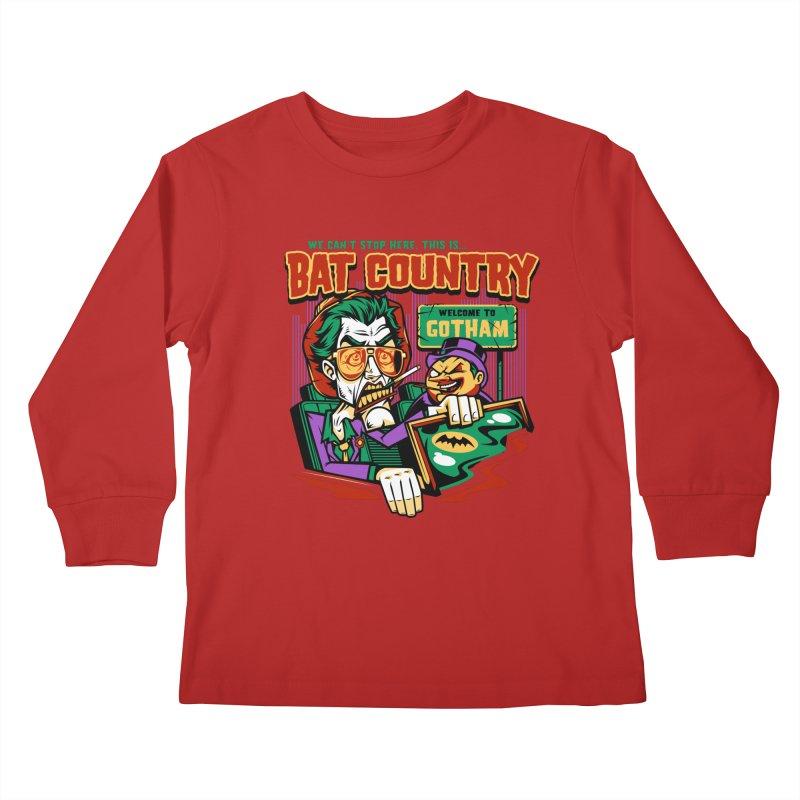 Bat Country (Penguin) Kids Longsleeve T-Shirt by harebrained's Artist Shop