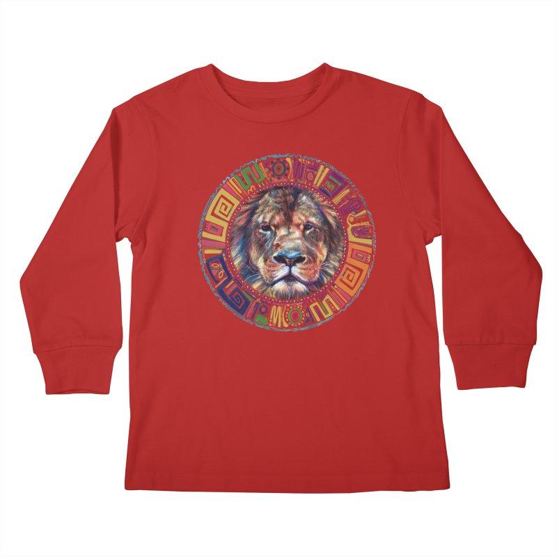 lion Mendala Kids Longsleeve T-Shirt by Hasan's Crib