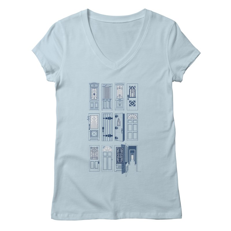 Life Is Doors Women's Regular V-Neck by [HAS HEART]