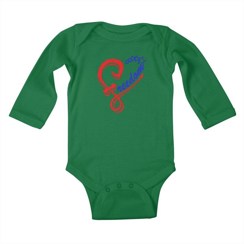 Freedom Heart Kids Baby Longsleeve Bodysuit by Hassified