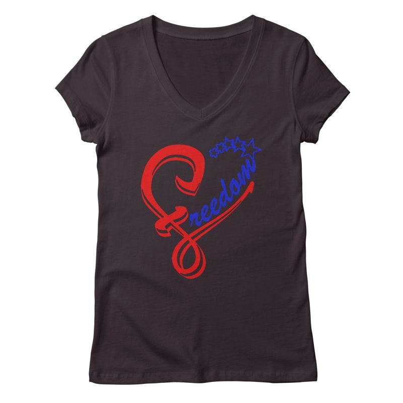 Freedom Heart Women's Regular V-Neck by Hassified