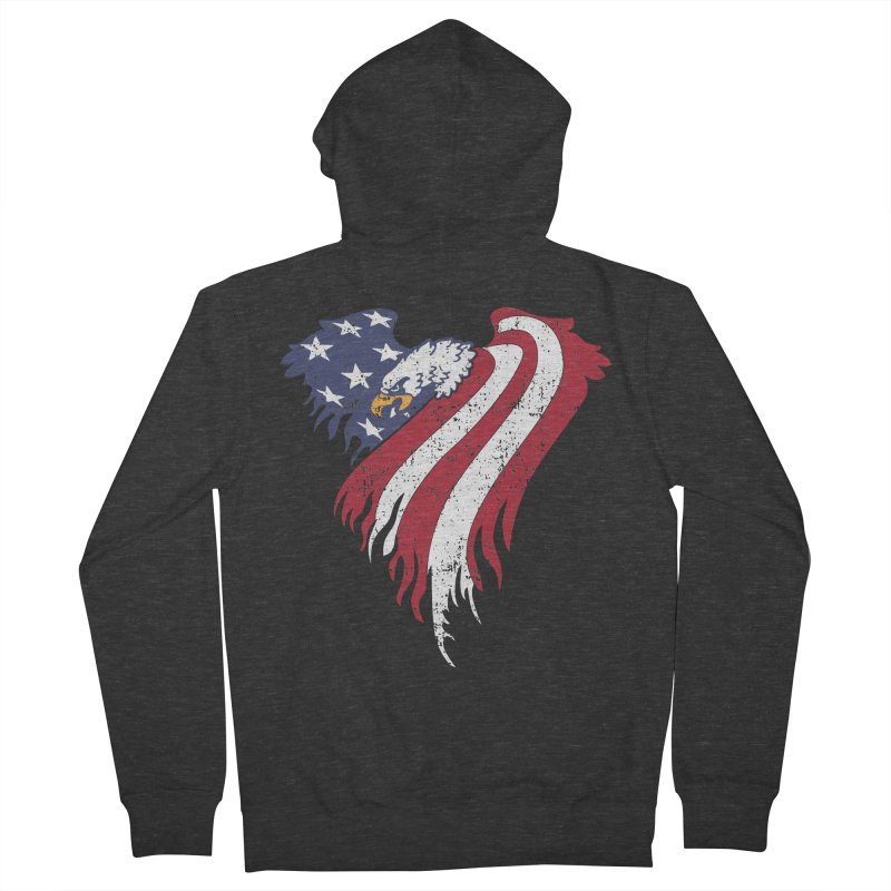 American Eagle Flag Men's French Terry Zip-Up Hoody by Hassified