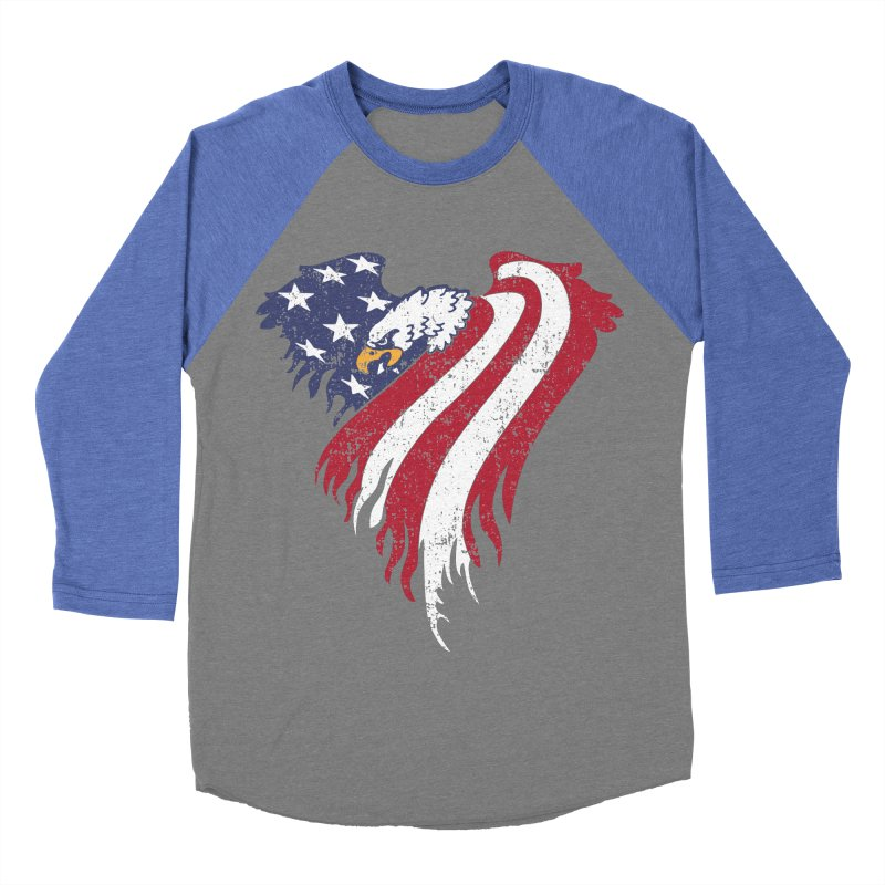 American Eagle Flag Men's Baseball Triblend T-Shirt by Hassified