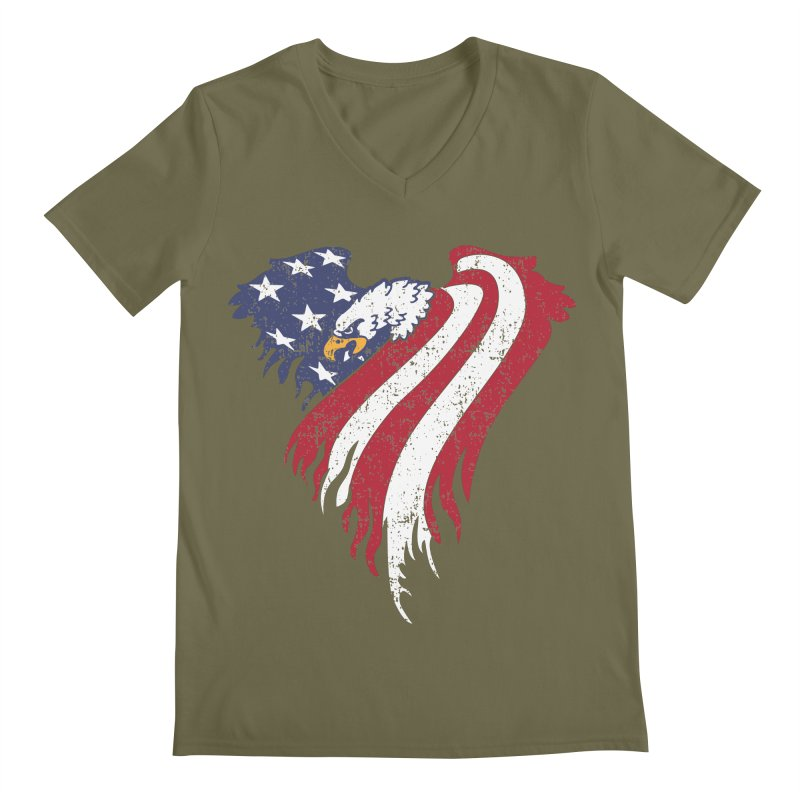 American Eagle Flag Men's Regular V-Neck by Hassified