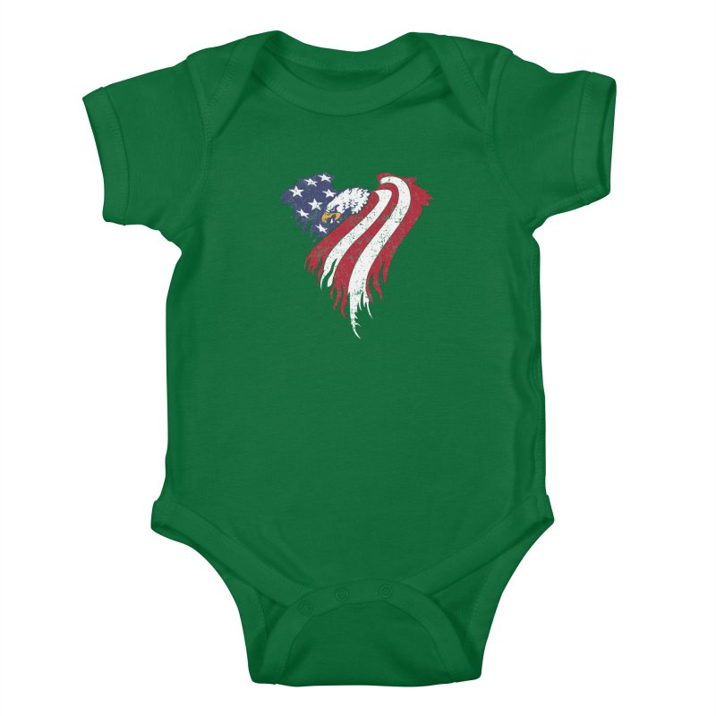 American Eagle Flag Kids Baby Bodysuit by Hassified