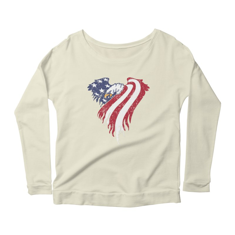 American Eagle Flag Women's Scoop Neck Longsleeve T-Shirt by Hassified