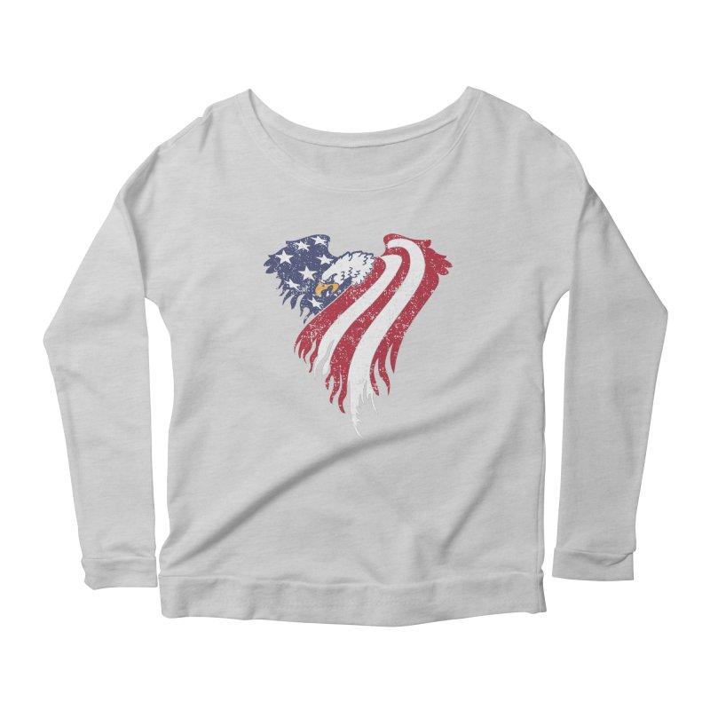 American Eagle Flag Women's Longsleeve Scoopneck  by Hassified