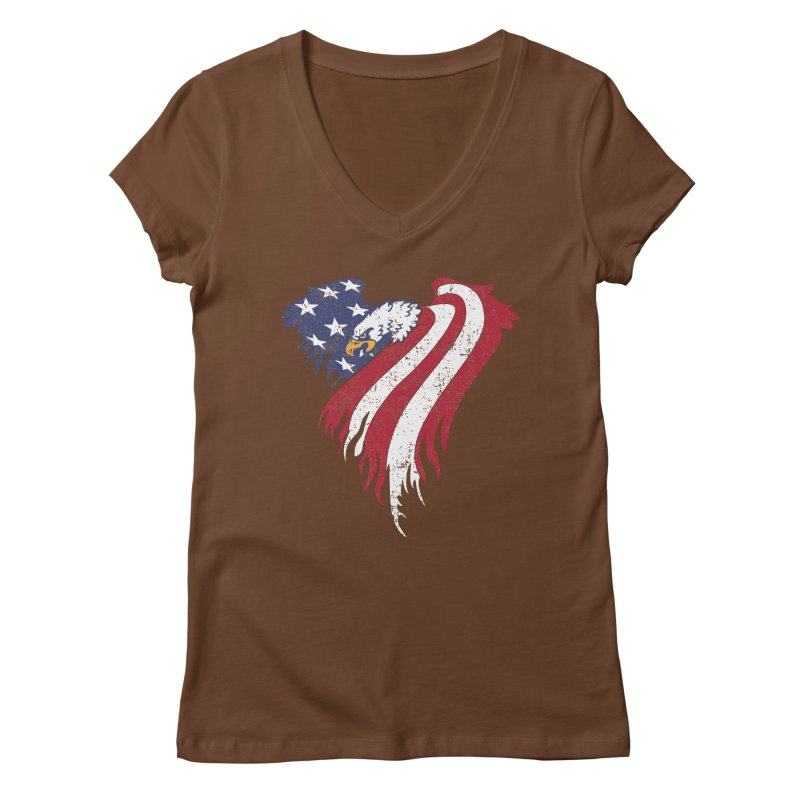 American Eagle Flag Women's Regular V-Neck by Hassified