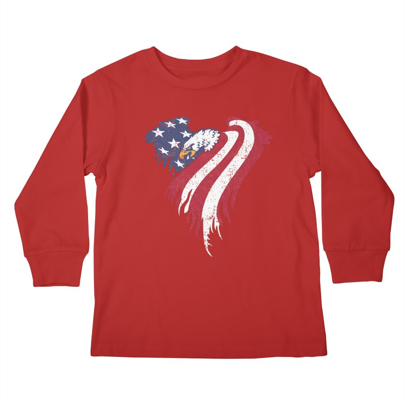 American Eagle Flag Kids Longsleeve T-Shirt by Hassified