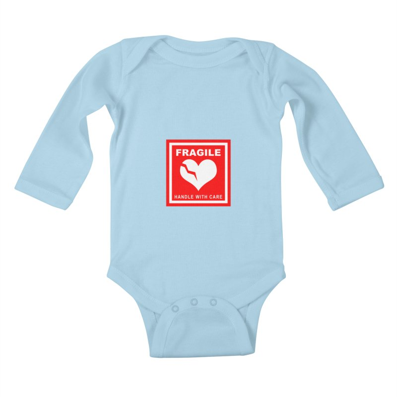 Fragile Handle With Care Kids Baby Longsleeve Bodysuit by Hassified