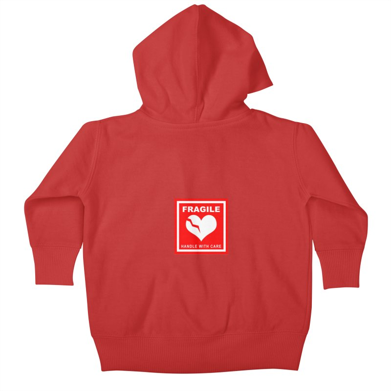 Fragile Handle With Care Kids Baby Zip-Up Hoody by Hassified