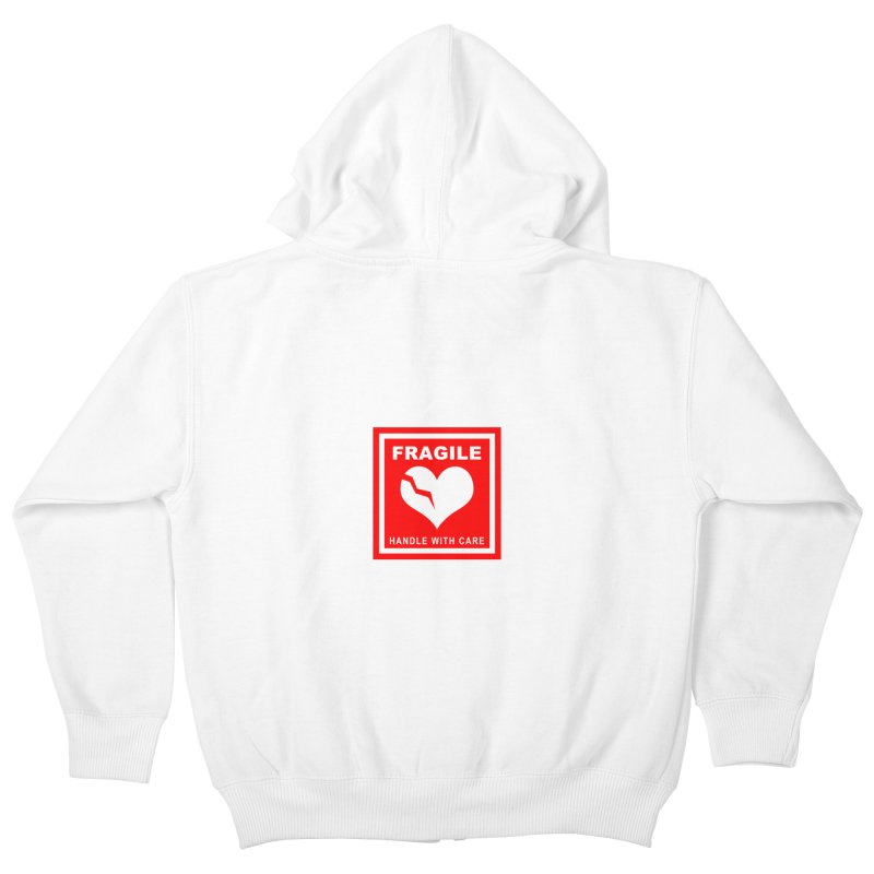Fragile Handle With Care Kids Zip-Up Hoody by Hassified