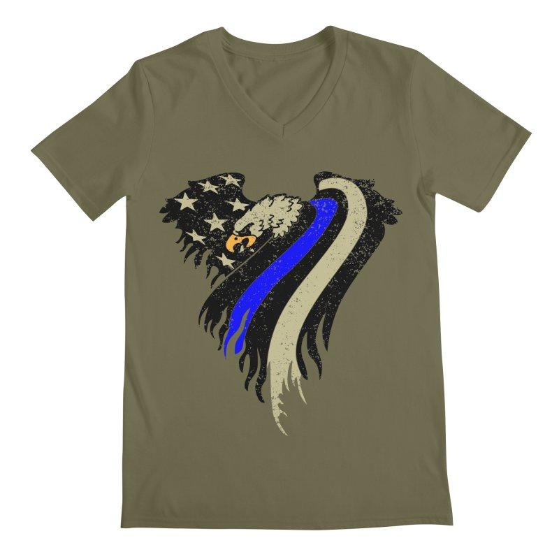 Law Enforcement Eagle Flag Men's Regular V-Neck by Hassified