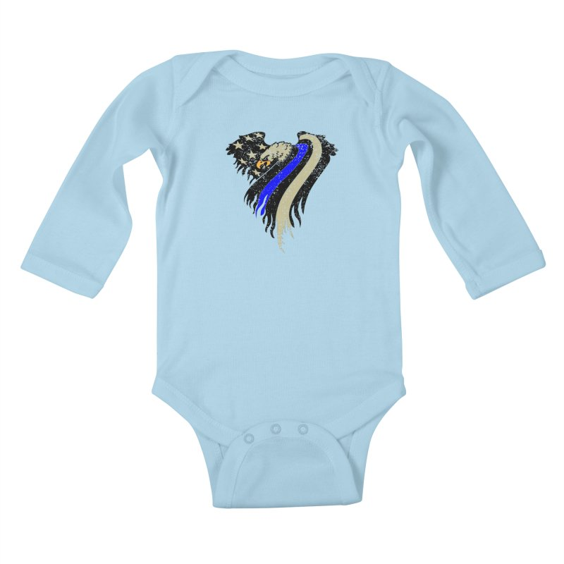Law Enforcement Eagle Flag Kids Baby Longsleeve Bodysuit by Hassified