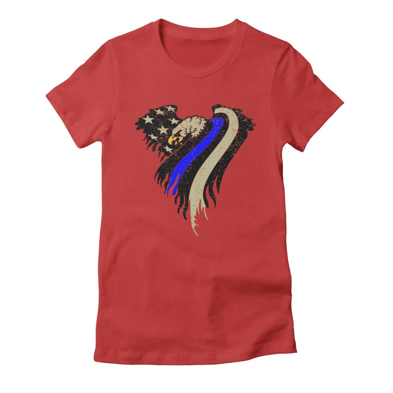Law Enforcement Eagle Flag Women's Fitted T-Shirt by Hassified