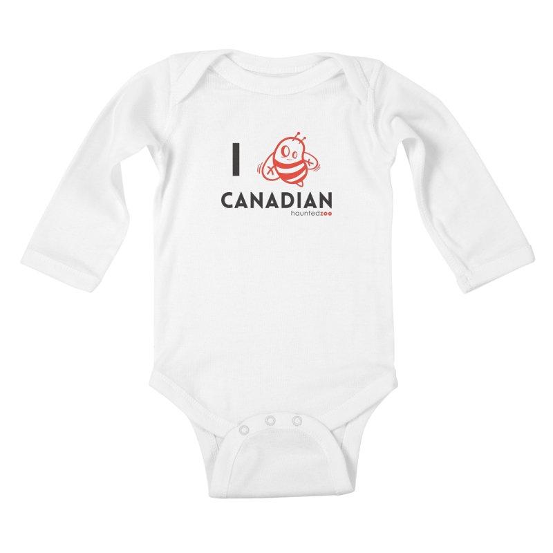 I BEE CANADIAN Kids Baby Longsleeve Bodysuit by hauntedzoo's Artist Shop