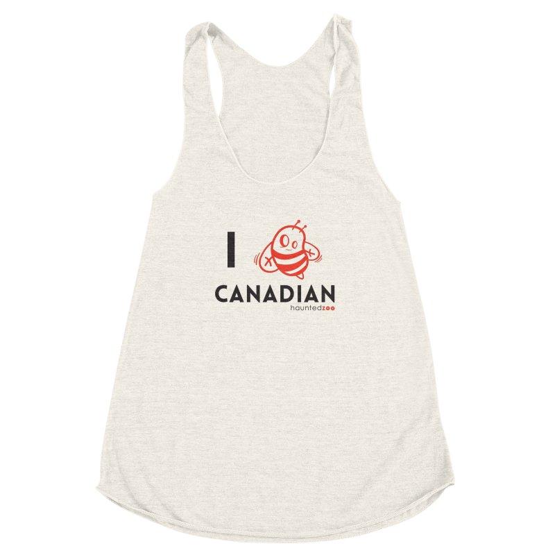 I BEE CANADIAN Women's Racerback Triblend Tank by hauntedzoo's Artist Shop