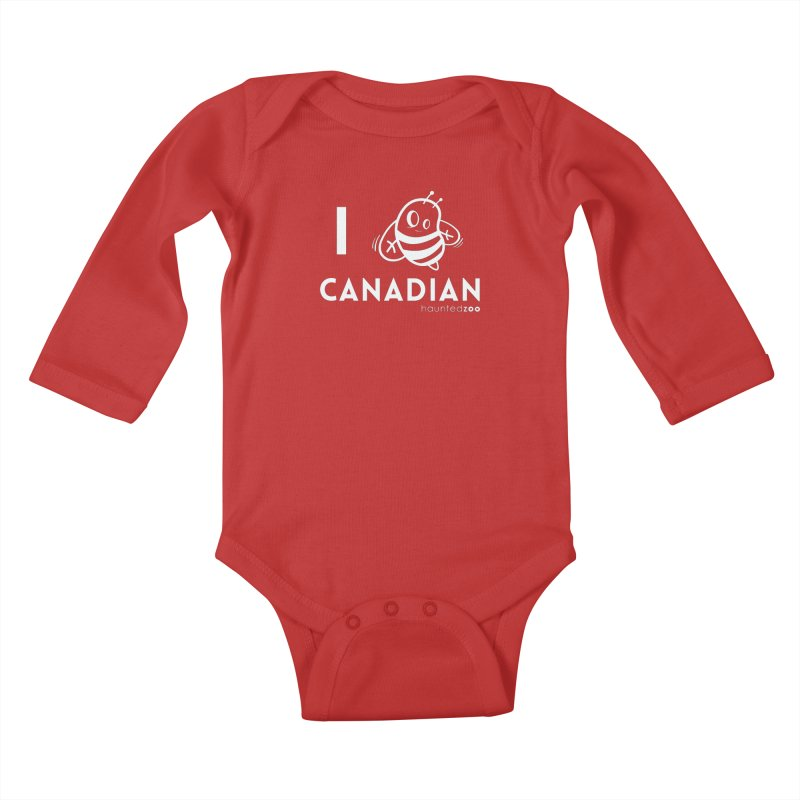 I BEE CANADIAN RED Kids Baby Longsleeve Bodysuit by hauntedzoo's Artist Shop