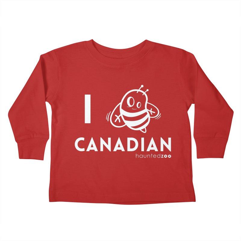 I BEE CANADIAN RED Kids Toddler Longsleeve T-Shirt by hauntedzoo's Artist Shop