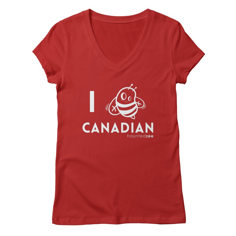 I BEE CANADIAN RED Women's V-Neck by hauntedzoo's Artist Shop