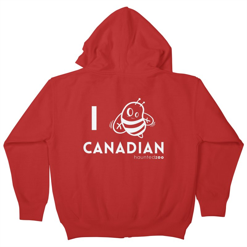 I BEE CANADIAN RED Kids Zip-Up Hoody by hauntedzoo's Artist Shop