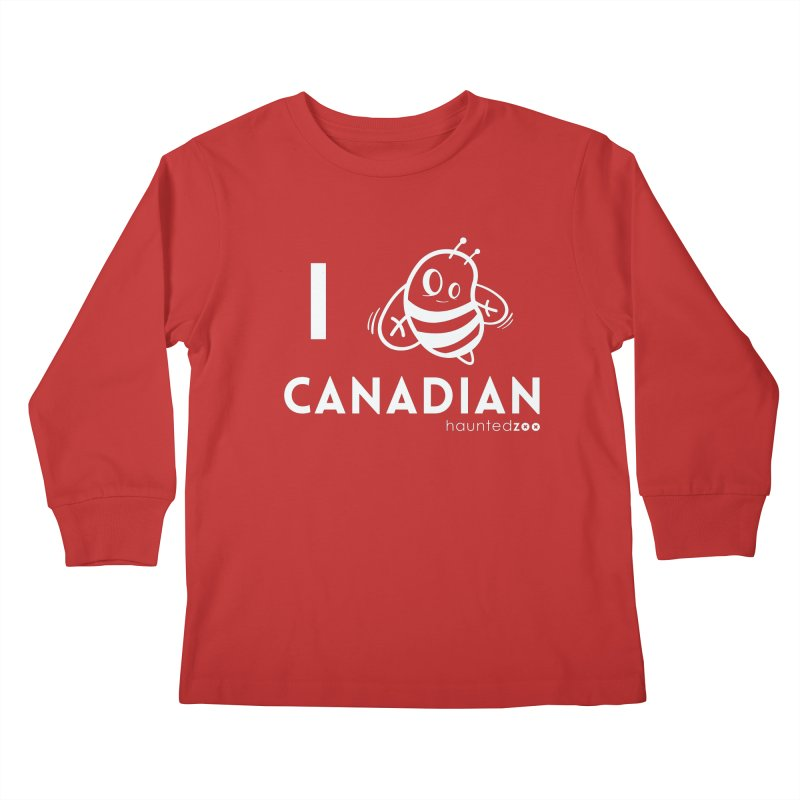I BEE CANADIAN RED Kids Longsleeve T-Shirt by hauntedzoo's Artist Shop