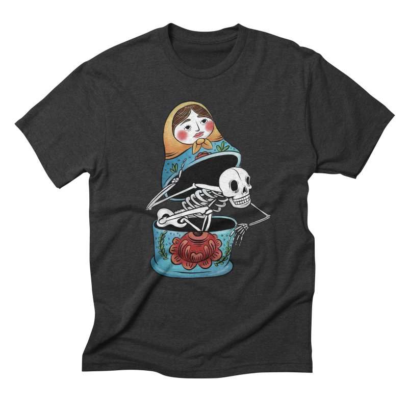 Matryoshka Skeleton Men's Triblend T-Shirt by Rhymes With Hell Studio