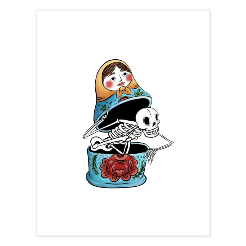 Matryoshka Skeleton Home Fine Art Print by Rhymes With Hell Studio