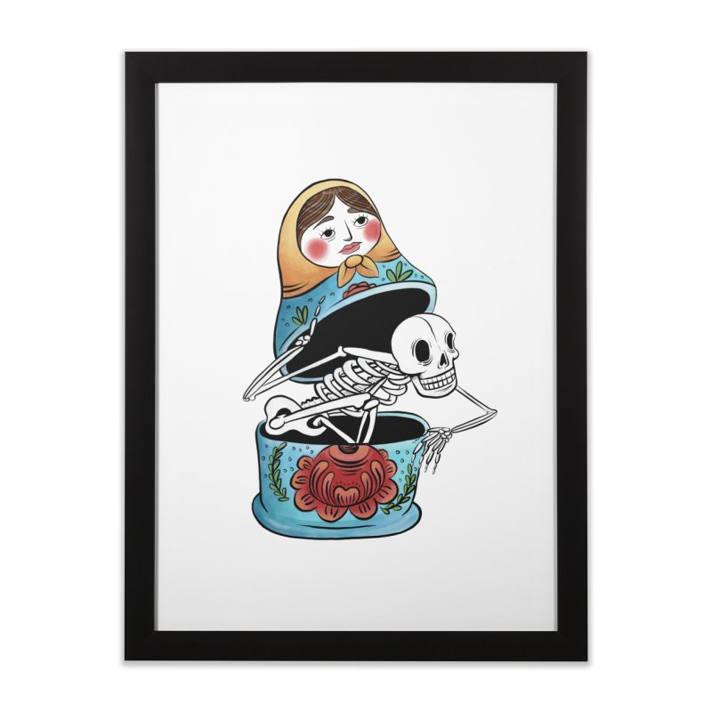 Matryoshka Skeleton Home Framed Fine Art Print by Rhymes With Hell Studio