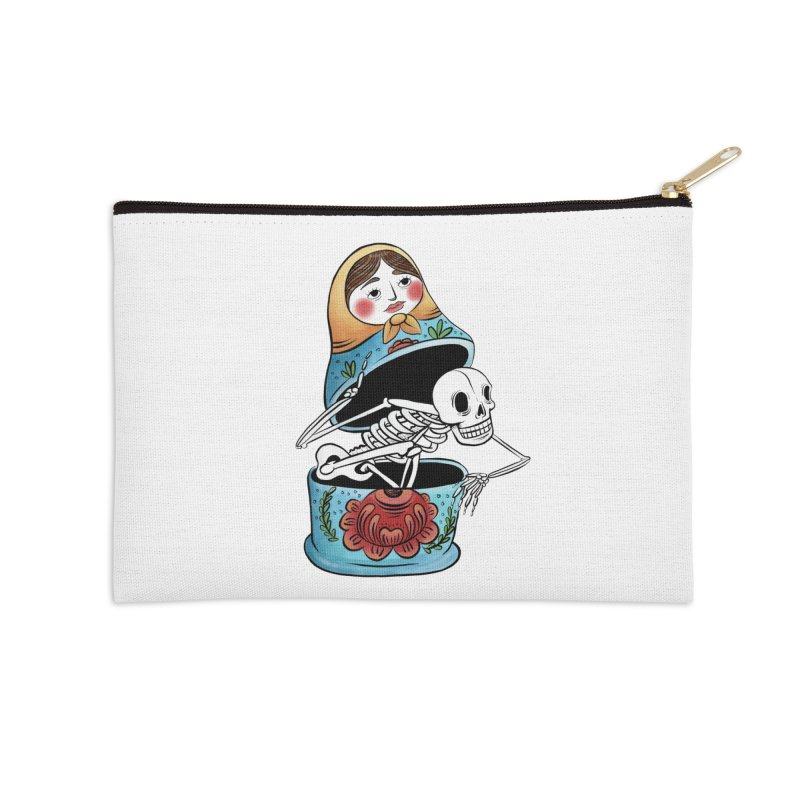 Matryoshka Skeleton Accessories Zip Pouch by Rhymes With Hell Studio