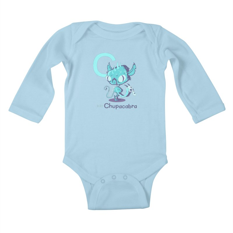 C is for Chupacabra in Kids Baby Longsleeve Bodysuit Powder Blue by Hazy Dell Press
