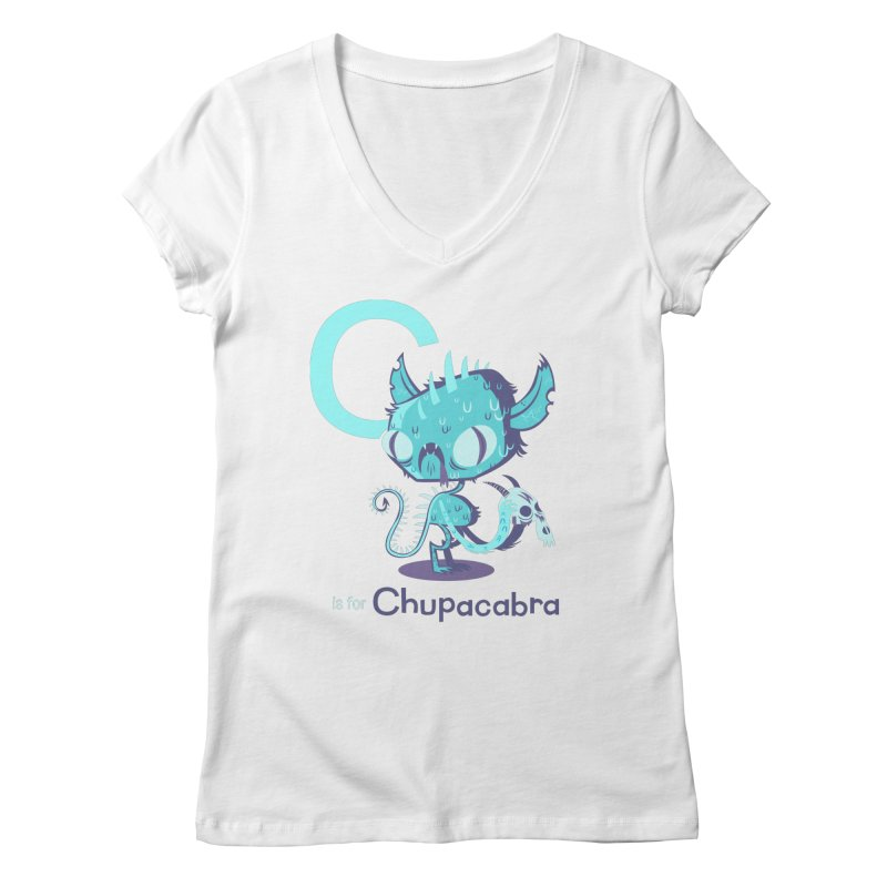 C is for Chupacabra Women's V-Neck by Hazy Dell Press
